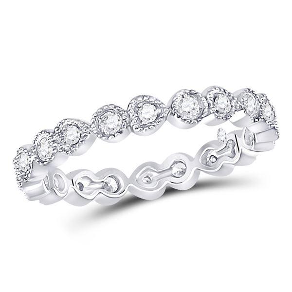 Round Diamond Heart Eternity Band Ring 3/8 Cttw 10KT White Gold
