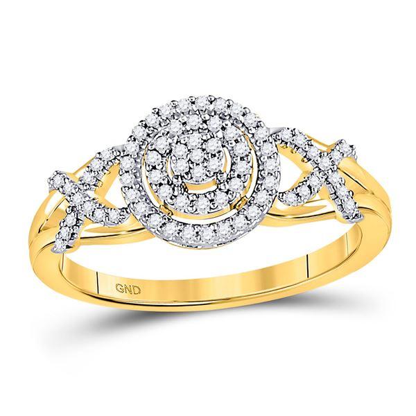 Round Diamond Cluster Split-shank XO Ring 1/5 Cttw 10KT Yellow Gold