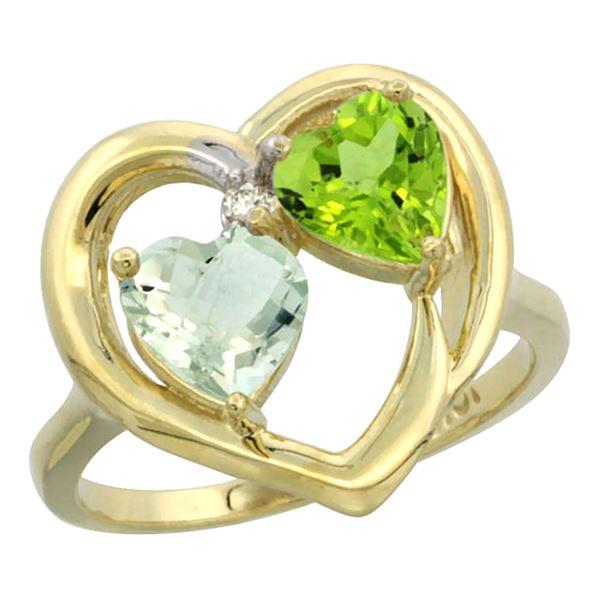 2.61 CTW Diamond, Amethyst & Peridot Ring 14K Yellow Gold - REF-33X9M