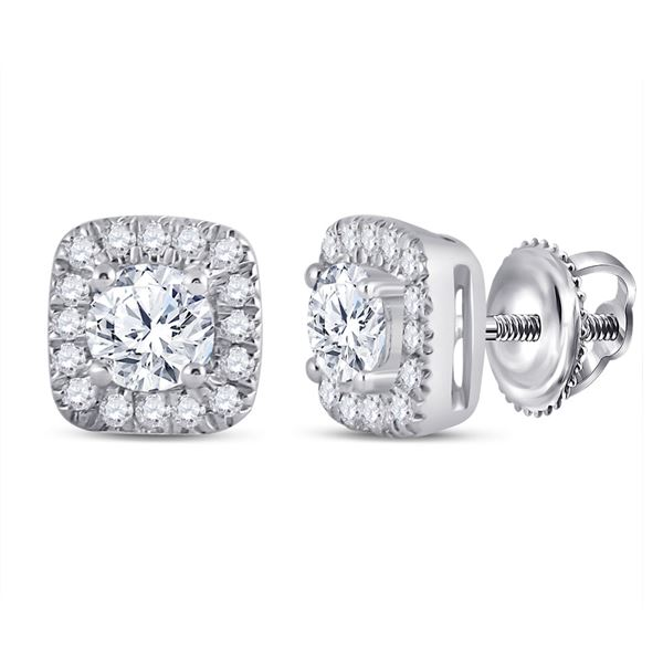 Round Diamond Halo Earrings 1/2 Cttw 14KT White Gold
