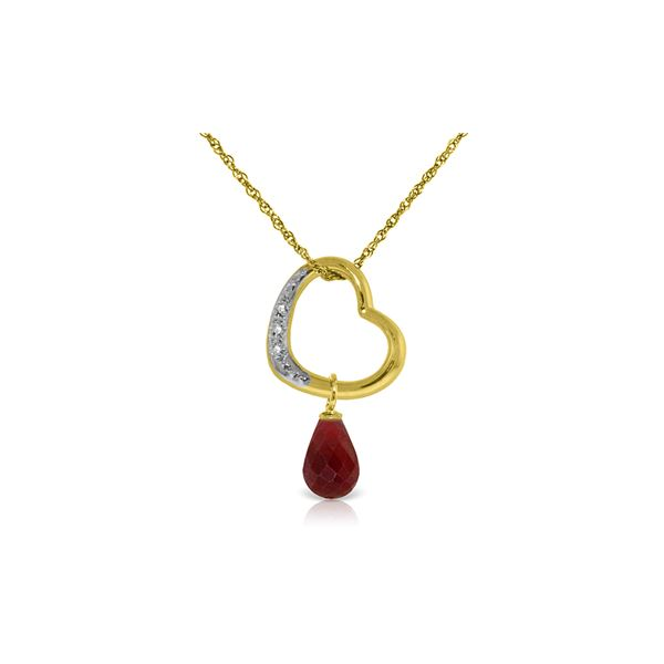 Genuine 3.33 ctw Ruby & Diamond Necklace 14KT Yellow Gold - REF-46M2T