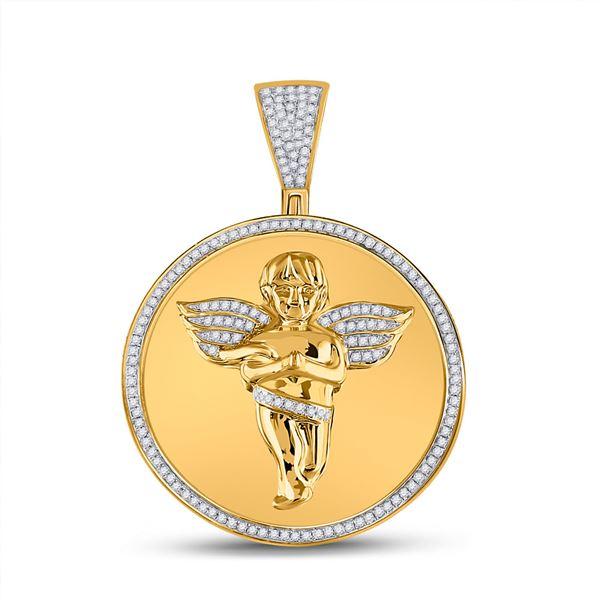 Round Diamond Circle Angel Cherub Medallion Charm Pendant 1/2 Cttw 10KT Yellow Gold