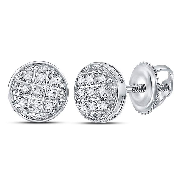 Round Diamond Circle Cluster Earrings 1/20 Cttw 10KT White Gold