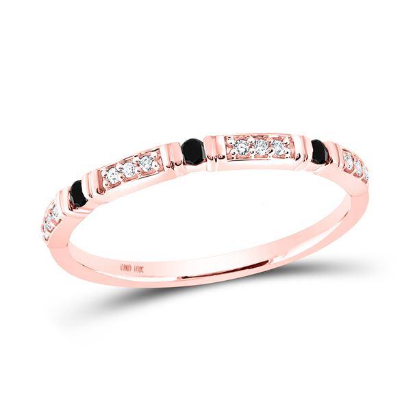 Round Black Color Enhanced Diamond Band Ring 1/10 Cttw 10KT Rose Gold
