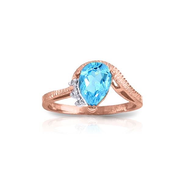 Genuine 1.52 ctw Blue Topaz & Diamond Ring 14KT Rose Gold - REF-51Y4F