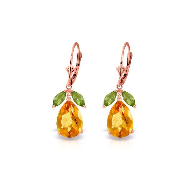 Genuine 13 ctw Citrine & Peridot Earrings 14KT Rose Gold - REF-61X2M