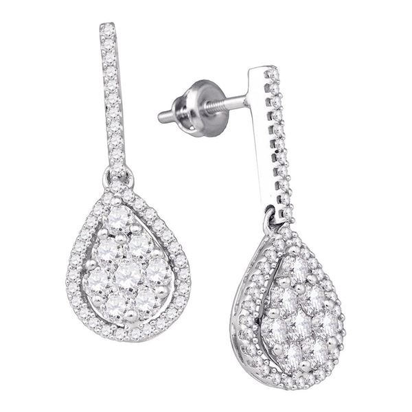Round Diamond Dangle Earrings 1-1/2 Cttw 10KT White Gold