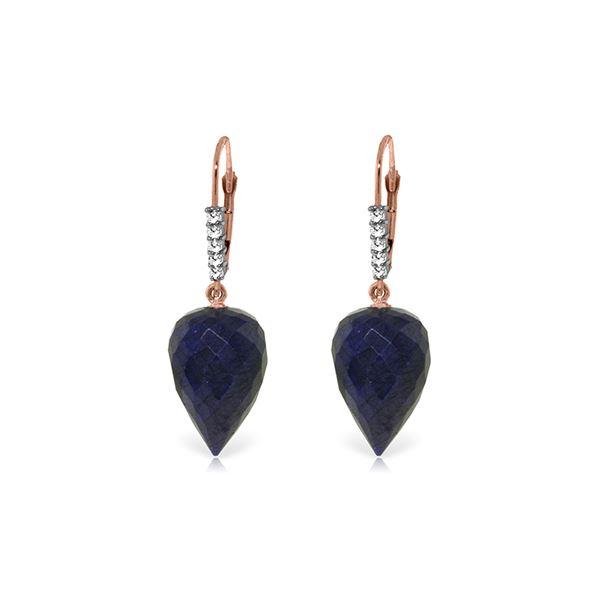 Genuine 25.95 ctw Sapphire & Diamond Earrings 14KT Rose Gold - REF-53H4X