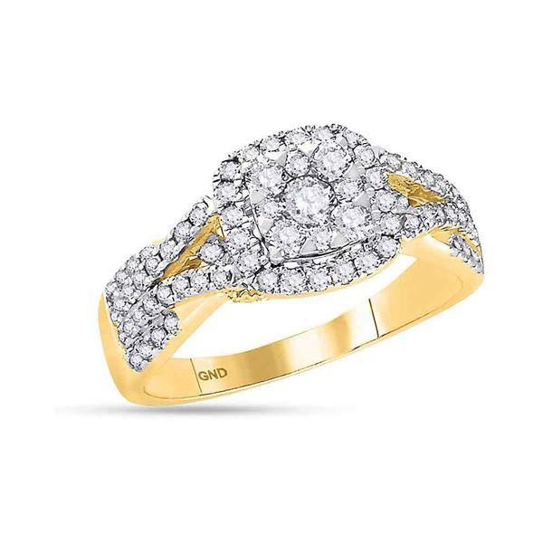 Diamond Square Cluster Bridal Wedding Engagement Ring 1 Cttw 14KT Yellow Gold