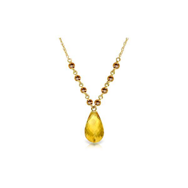 Genuine 11.50 ctw Citrine Necklace 14KT Yellow Gold - REF-34N7R