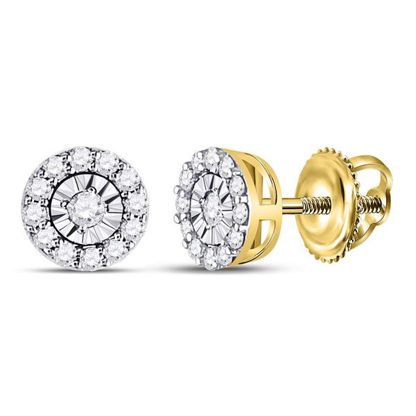 Round Diamond Halo Earrings 1/4 Cttw 14KT Yellow Gold