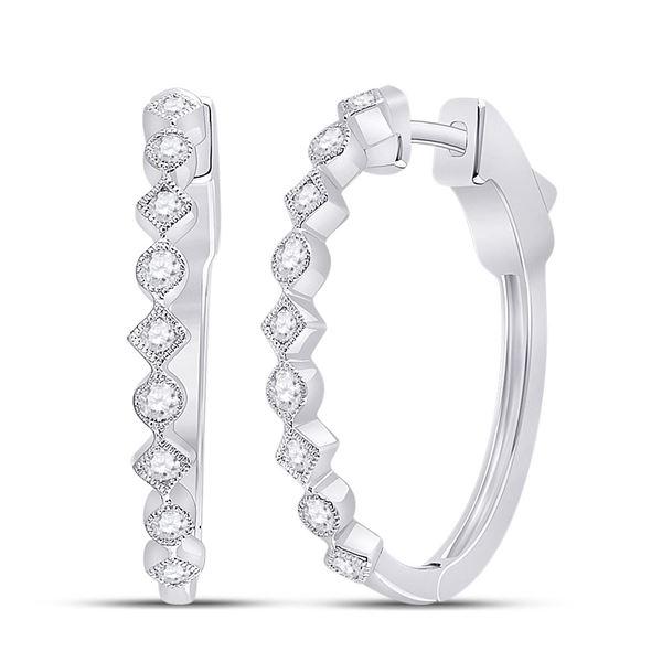 Round Diamond Milgrain Square Dot Hoop Earrings 1/2 Cttw 14KT White Gold