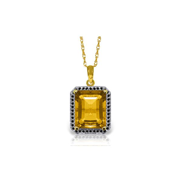 Genuine 5.4 ctw Citrine & Black Diamond Necklace 14KT Yellow Gold - REF-68K4V