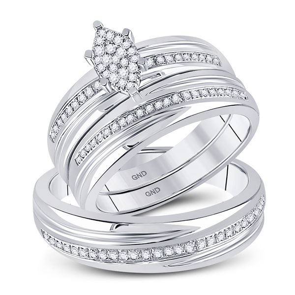 Diamond Cluster Matching Wedding Set 1/4 Cttw 10KT White Gold