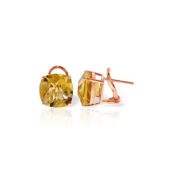 Genuine 7.2 ctw Citrine Earrings 14KT Rose Gold - REF-46Z5N