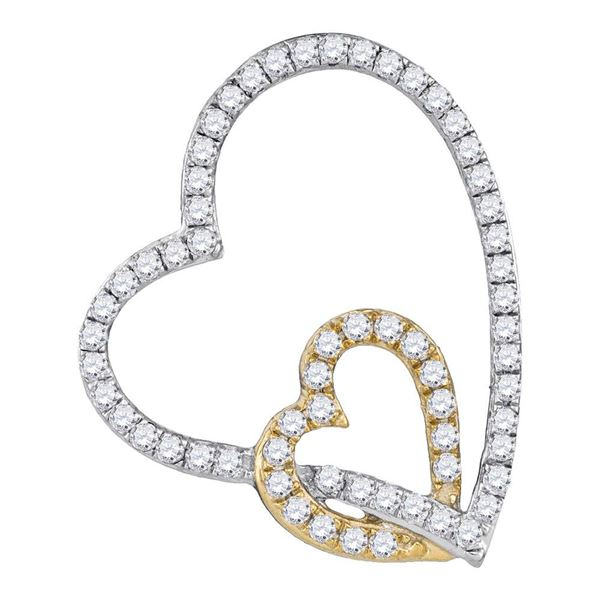 Round Diamond Double Linked Heart Pendant 1/3 Cttw 10KT Two-tone Gold