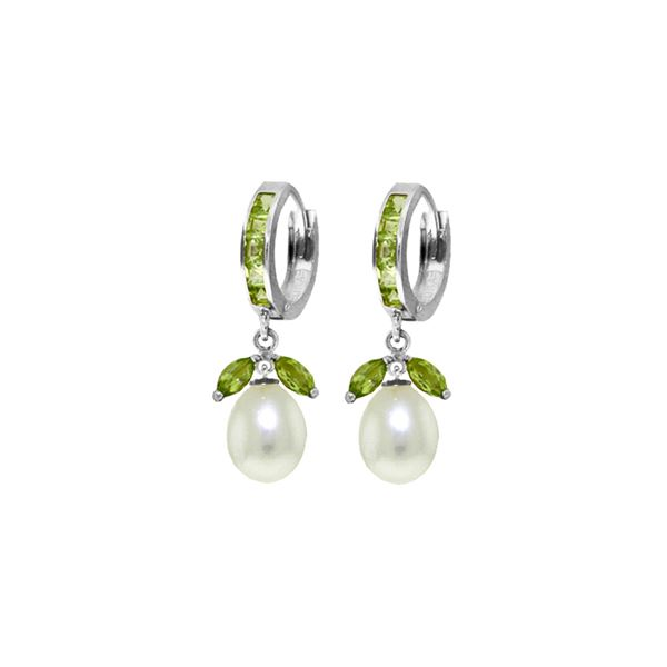 Genuine 10.30 ctw Peridot & Pearl Earrings 14KT White Gold - REF-56V7W