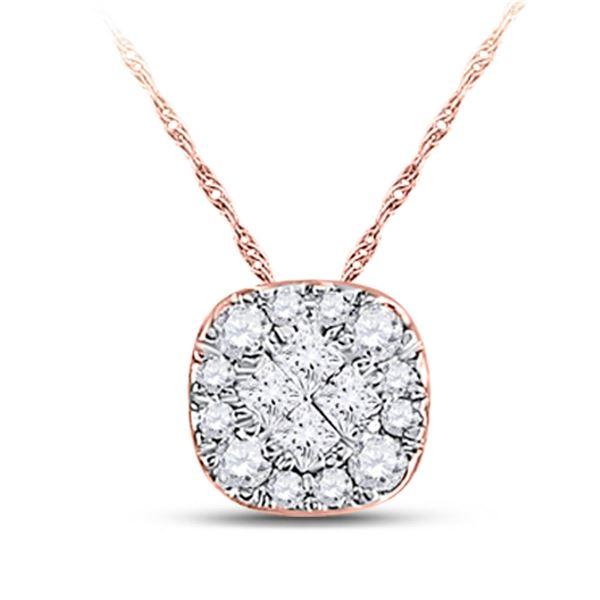 Princess Diamond Square Pendant 1/4 Cttw 14KT Rose Gold