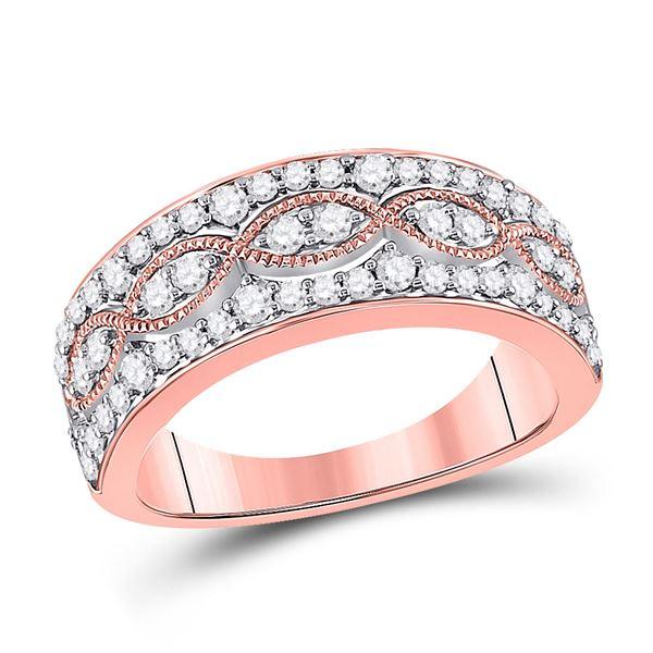 Round Diamond Fashion Twist Band Ring 5/8 Cttw 14KT Rose Gold