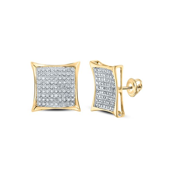 Round Diamond Square Earrings 1/2 Cttw 10KT Yellow Gold