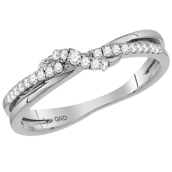 Round Diamond Crossover Stackable Band Ring 1/6 Cttw 14KT White Gold