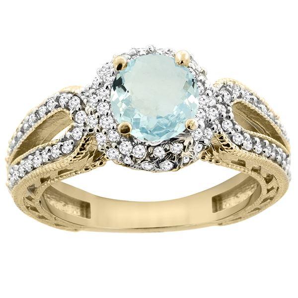 1.25 CTW Aquamarine & Diamond Ring 14K Yellow Gold - REF-88A8X