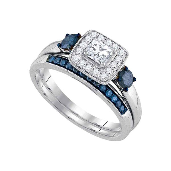 Bridal Wedding Ring Band Set 3/4 Cttw 14KT White Gold