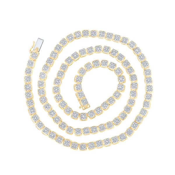 Round Diamond Tennis Studded Necklace 8-1/2 Cttw 10KT Yellow Gold