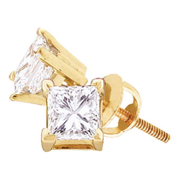 Princess Diamond Solitaire Stud Earrings 3/8 Cttw 14KT Yellow Gold