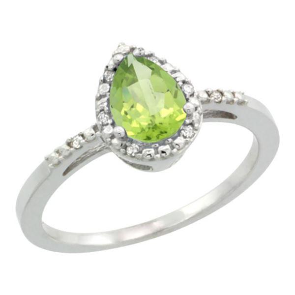1.55 CTW Peridot & Diamond Ring 10K White Gold - REF-20N7Y