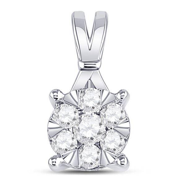 Round Diamond Flower Cluster Pendant 1/3 Cttw 14KT White Gold