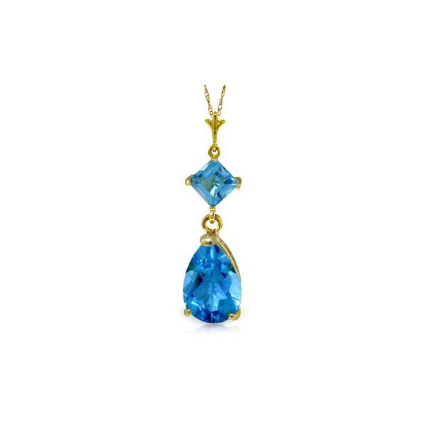 Genuine 2 ctw Blue Topaz Necklace 14KT Yellow Gold - REF-24X3M