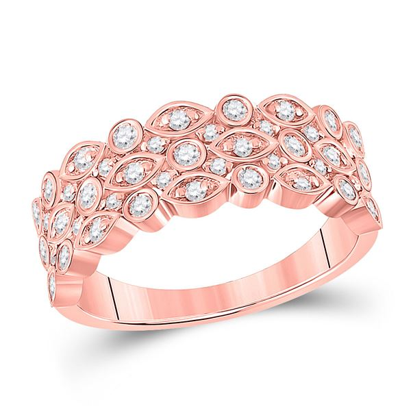 Round Diamond 3-Row Marquise Dot Band Ring 3/4 Cttw 14KT Rose Gold