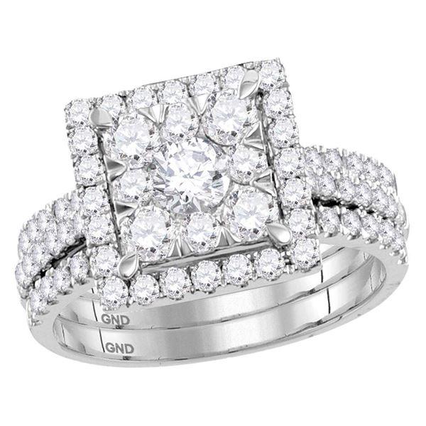 Diamond Square Bridal Wedding Ring Band Set 2 Cttw 14KT White Gold