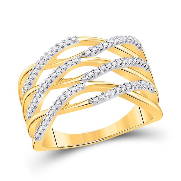 Round Diamond Crossover Strand Band Ring 1/4 Cttw 10KT Yellow Gold