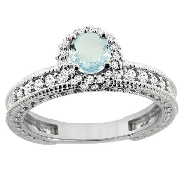 0.77 CTW Aquamarine & Diamond Ring 14K White Gold - REF-67R2H