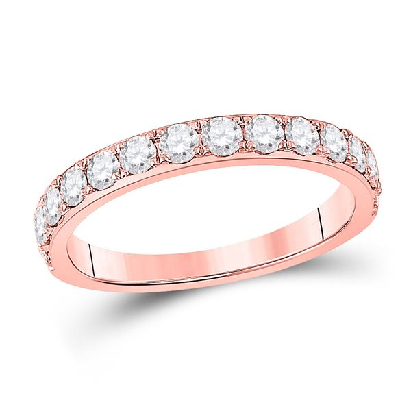Round Diamond Wedding Single Row Band 3/4 Cttw 14KT Rose Gold
