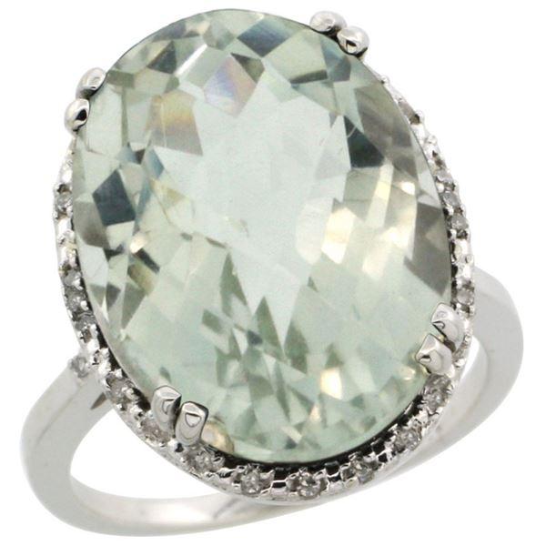 13.71 CTW Amethyst & Diamond Ring 14K White Gold - REF-59W4F