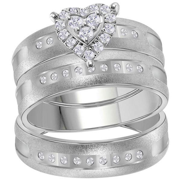 Diamond Heart Matching Wedding Set 1/4 Cttw 14KT White Gold