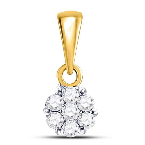 Round Diamond Flower Cluster Pendant 1/10 Cttw 14KT Yellow Gold