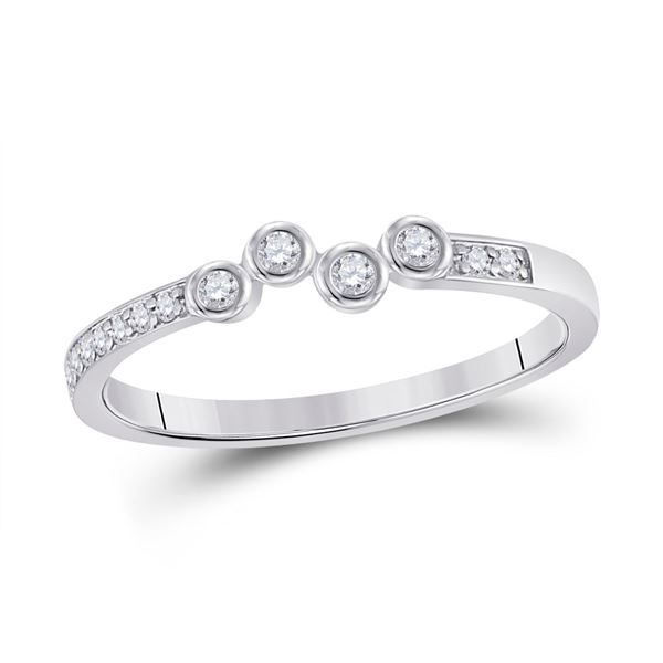 Round Diamond Stackable Band Ring 1/5 Cttw 10KT White Gold