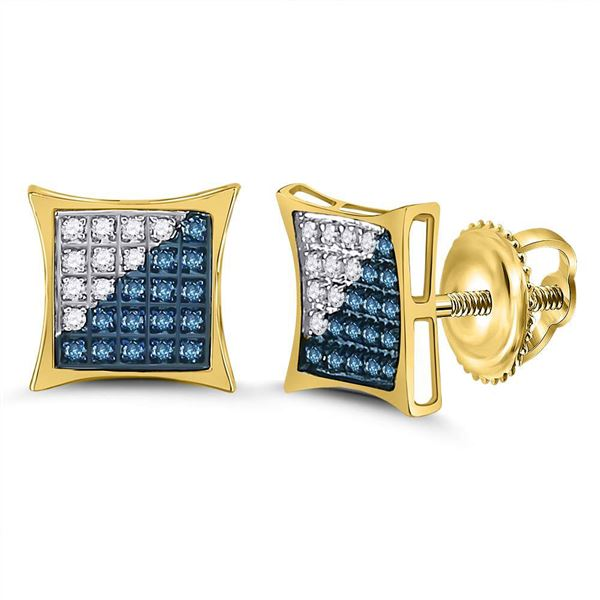 Round Blue Color Enhanced Diamond Square Kite Cluster Earrings 1/6 Cttw 10KT Yellow Gold