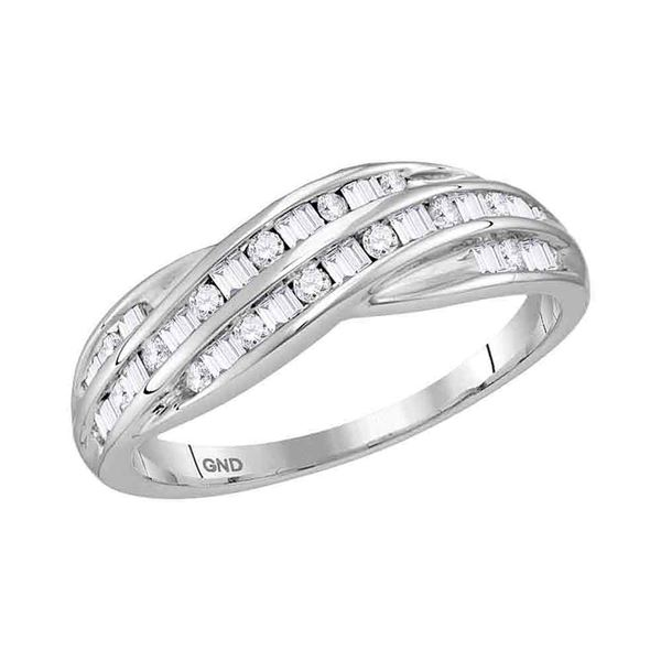 Round Baguette Diamond Crossover Band Ring 1/3 Cttw 10KT White Gold