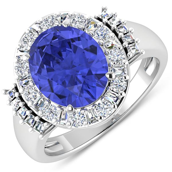 Natural 4.58 CTW Tanzanite & Diamond Ring 14K White Gold - REF-156R2F