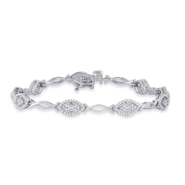 Baguette Diamond Fashion Bracelet 1 Cttw 14KT White Gold