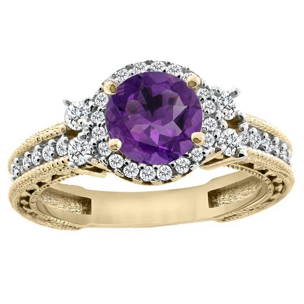 1.46 CTW Amethyst & Diamond Ring 14K Yellow Gold - REF-77F4N