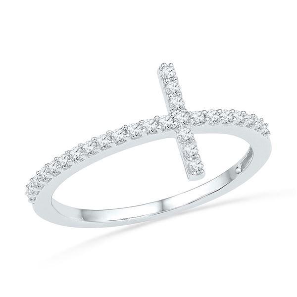 Round Diamond Cross Band Ring 1/5 Cttw 10KT White Gold