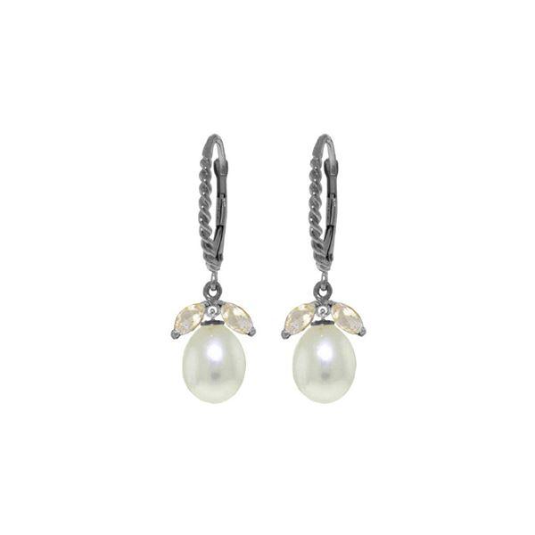 Genuine 9 ctw White Topaz & Pearl Earrings 14KT White Gold - REF-39N3R