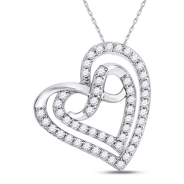 Round Diamond Infinity Heart Pendant 1/3 Cttw 10KT White Gold