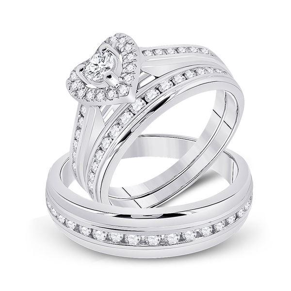 Diamond Heart Matching Wedding Set 1 Cttw 10KT White Gold